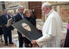 Pope Francis receives an icon of Blessed Oscar Romero during a meeting on Friday with pilgrims from El Salvador. - OSS_ROM