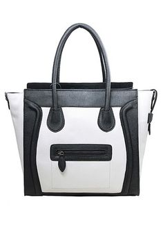 Vanessa Medium Tote In Smooth Leather Black And White