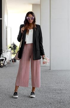 Get this look: http://lb.nu/look/8405769  More looks by Bárbara Marques: http://lb.nu/mykindofjoy  Items in this look:  Mango Blazer, Zara Culottes, Zara Sneakers, Sammydress Crop Top, Michael Kors Bag, Sammydress Sunglasses