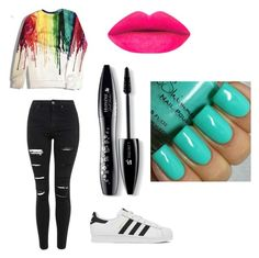 """""""Rock the rainbow"""" by alexiacasa on Polyvore featuring Topshop, adidas, Lancôme, women's clothing, women's fashion, women, female, woman, misses and juniors"""