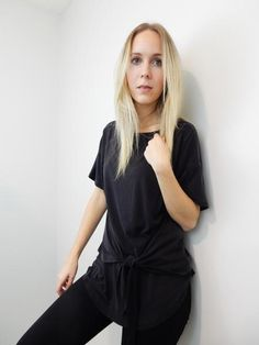 Soft black t-shirt with front wrap tie.