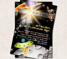Space Theme Birthday Party Invitation by missbellaexpressions,