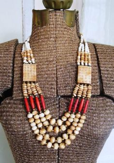Chunky wood/beaded necklace.