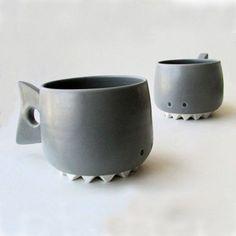 Shark Mug - Animal Mugs - Handmade Porcelain Cups | Small for Big