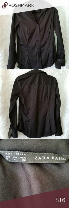 Zara Basics Black Button Down Top Size M Zara Basics black button down shirt blouse new with tags size M Zara Tops Button Down Shirts