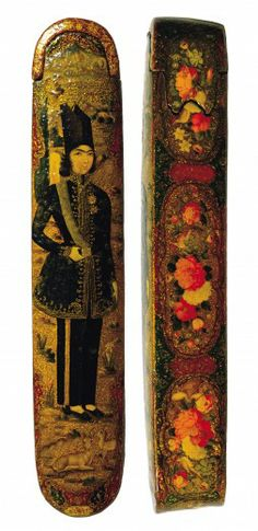 Pen Box with a Portrait of a Qajar Prince Isfahan, Iran mid-19th century papier-mâché cover and sliding compartment with rounded ends, painted and varnished 25 x 4.7 x 4.5cm Khalili Collections