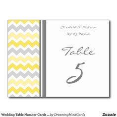 Wedding Table Number Cards Yellow Gray Chevron Postcard