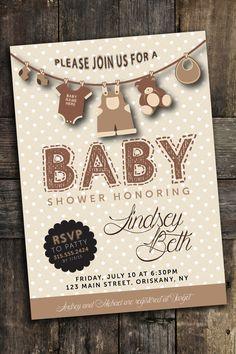 Custom Baby Shower Invite Personalized Digital File Boy Girl Gender Neutral Clothes Line Teddy Bear PDF Printable DIY Brown Pink Blue Cute