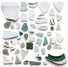 Bulk 50 Japanese Green Pottery Pieces,Beach Pottery,Coastal Home Decor,Antique,Craft Pottery Ceramic,Japanese Vintage Design, Mosaic by ReverseGem on Etsy