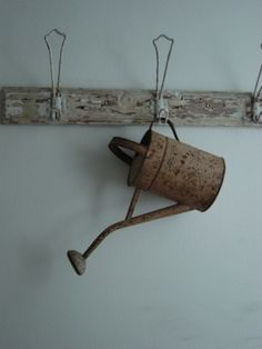 I have big brass hooks that I plan to hang some watering cans from in the dining room.