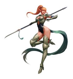 Artstation - elf lancer, hyeon gwan nam fantasy females in 2 Fantasy Girl, Fantasy Female Warrior, Chica Fantasy, Warrior Girl, Fantasy Weapons, Fantasy Rpg, Fantasy Character Design, Character Inspiration, Character Art