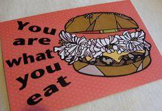 hamburger post card by Nuchiwacca on Etsy, ¥150