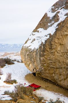 I remember this rock in the Buttermilks in Bishop, CA. I think it's called old man V10-12. The down climb is the V3 to the right.