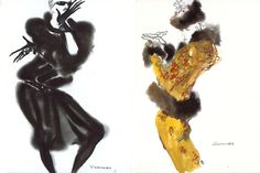 Left: Viramontes's advertising campaign for Blackglama furs appeared in the French publication La Mode en Peinture around 1984. Opposite: The artist in Paris, 1986. Right: A sketch of a sable-trimmed gold evening suit, designed by Karl Lagerfeld for Chanel Haute Couture in 1984, is among the works available in the Viramontes capsule collection on 1stdibs.