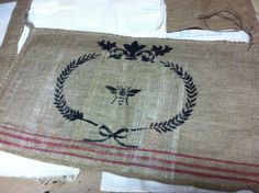 Burlap Sack Rustic French for pillows wall by lamoneeboutique, $6.95