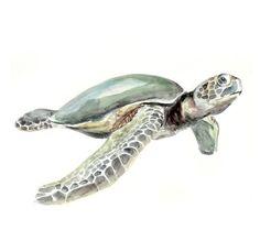 Turtle Original Watercolor painting fine art artwork wall home decor ocean sea animal illustration 13x19 via Etsy