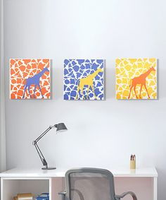 Take a look at this Rusty Giraffe Walk Canvas Set by GiggleDots on #zulily today! I like the idea of multiple canvases on a wall like this. Fun, bright and cheery.