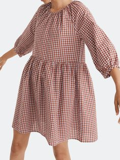 Seersucker Dress, Gingham Dress, Simple Dresses, Fashion Beauty, Shirt Dress, Puff Sleeves, Long Sleeve, Shirts