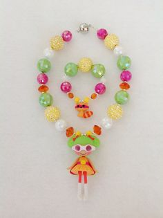 Lalaloopsy Necklace & Bracelet - Dyna Might and Raccoon on Etsy, $22.50