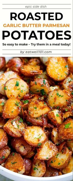 Roasted Garlic Butter Parmesan Potatoes Recipe - recipe poatoes sidedish - These epic roasted potatoes with garlic butter parmesan are perfect side for your meal! Potato Sides, Potato Side Dishes, Vegetable Side Dishes, Side Dishes For Chicken, Recipe For Potato Dishes, Side Dishes For Party, Recipes For Potatoes, Good Side Dishes, Recipes With Potatoes