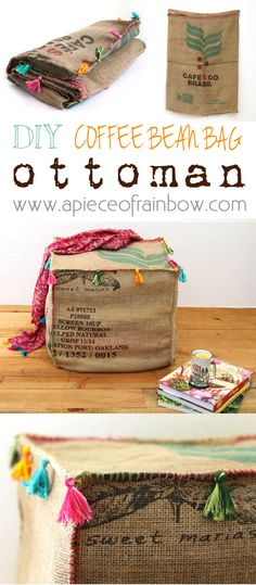 Make an unique and gorgeous Burlap Coffee Bag Ottoman from only one coffee bean bag! Triple functions: seating, side table, and storage all in one! - A Piece Of Rainbow
