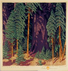 ~ Gustave Baumann : Sequoia Forest - circa early 1930's - color woodcut