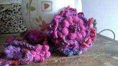 bohemian crochet necklace with detachable  flower pin/ lariat