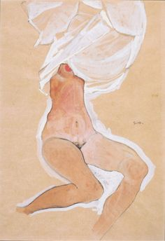 mybluewindow:  Egon Schiele - nude girl sitting with shirt over her head.