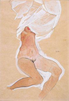 mybluewindow:  Egon Schiele -nude girl sitting with shirt over her head.
