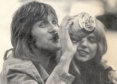 Keith Emerson and his wife, Elinore, enjoy a cognac break from ELP tour preparations.