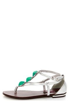468b2048a441 Dollhouse Island Silver and Turquoise Embellished Thong Sandals
