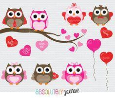 Sweetheart Owls Clipart  Digital Clip Art by AbsolutelyJanie