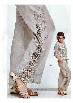 Photo from album Журнал Мод 607 on Yandex. Fashion Mode, Fashion Pants, Hijab Fashion, Boho Fashion, Fashion Dresses, Womens Fashion, Fashion Design, Clothes Refashion, Diy Clothes