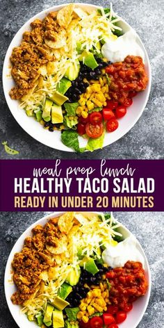 Ditch the messy tacos and make this healthy taco salad recipe instead…loaded with delicious turkey taco meat, crunchy tortilla chips, cheese and more! Easy to prep and perfect for a meal prep lunch or dinner. Lunch Meal Prep, Healthy Meal Prep, Healthy Cooking, Healthy Eating, Cooking Recipes, Summer Healthy Meals, Healthy Student Meals, Clean Eating Lunches, Meal Prep Salads