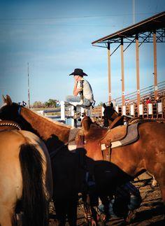 Pensive cowboy. Cody Nite Rodeo. Cody, WY. July 2013