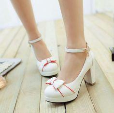 Womens Bowknot Chunky Heels Belt Buckles Party Shoes Girls Princess Trnedy  E736