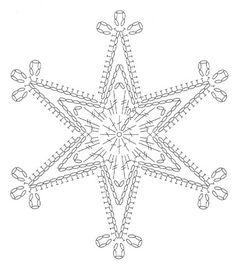 crochet pattern - star snowflake hexagon six points chart / diagramgwiazdka na Stylowi.We knit a snowflake with a hook – picking … Snowflake … – Snowflakes World Crochet Diagram, Crochet Motif, Crochet Designs, Crochet Doilies, Crochet Flowers, Crochet Patterns, Diy Crochet, Crochet Snowflake Pattern, Crochet Snowflakes