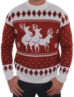 Funny Christmas Sweater - Reindeer Menage a Trois Sweater