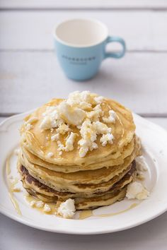 Pancakes with cheese and honey