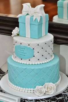 Tiffany Inspired Birthday Party cake by Sweet Little Party Company - Tiffany Birthday - Tiffany Blue Cakes, Tiffany Theme, Tiffany Party, Tiffany Birthday Party, Tiffany Blue Rooms, Tiffany Box, Tiffany Wedding, Pretty Cakes, Cute Cakes