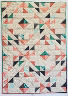 Quilts - Handmade Indian Summer Crib Quilt 35 x 49 (Pattern by Suzy Quilts) Art Gallery Fabrics Chromatics Modern Baby Quilt Coral Teal Grey Ivory – Quilts Amische Quilts, Girls Quilts, Twin Quilt Pattern, Quilt Patterns, Owl Patterns, Quilt Baby, Quilting Projects, Quilting Designs, Quilting Ideas