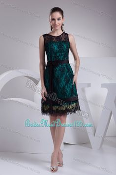 Teal Satin Bridesmaid Dresses Online with Black Lace and Sash