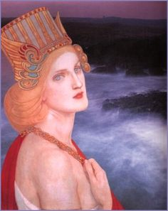 (collage - Lunaea Weatherstone)  Danu - It is told that those who worshipped her, the Tuatha de Danann (the children of Danu), retreated into the hollow hills of Ireland when Christianity overcame the old ways. There, they became immortal, the Sidhe or faery folk, and Danu's legend lives on as the Goddess of faery ways. Danu is the power that is in the land, never to be overcome by mortals. And Her power is in the imagination of those who see magic in the twilight mist between the worlds.
