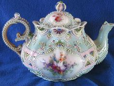 Swoon...... Outstanding Nippon Japan Antique Enameled Moriage Tea Pot A RARE Signed Piece