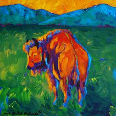 Original painting red bull bison buffalo by GailLRichardsArt