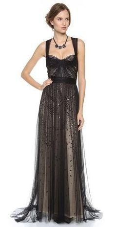 638e9820393 Monique Lhuillier - Black Bustier Top Gown with Tulle Straps - Lyst