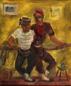 FRANCIS LYMBURNER (1916-1972) - Dancers oil on canvas laid down on board