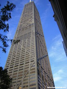 John Hancock Center, Chicago -- I actually rode the window washers off the top of the building on a dare.  This was when I worked in the gift shop in the observatory when the building was just starting to open.  It has to go down as one of the craziest things I have ever done.  lol