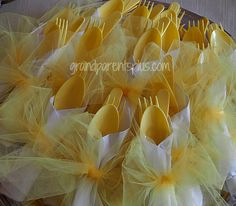 Duck Theme Baby Shower. Love the tulle wrapped lemon cutlery!