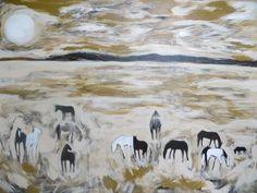 """""""Field of Horses"""" 96x72 by karen bezuidenhout. sold. www.karenbezuidenhout.com"""